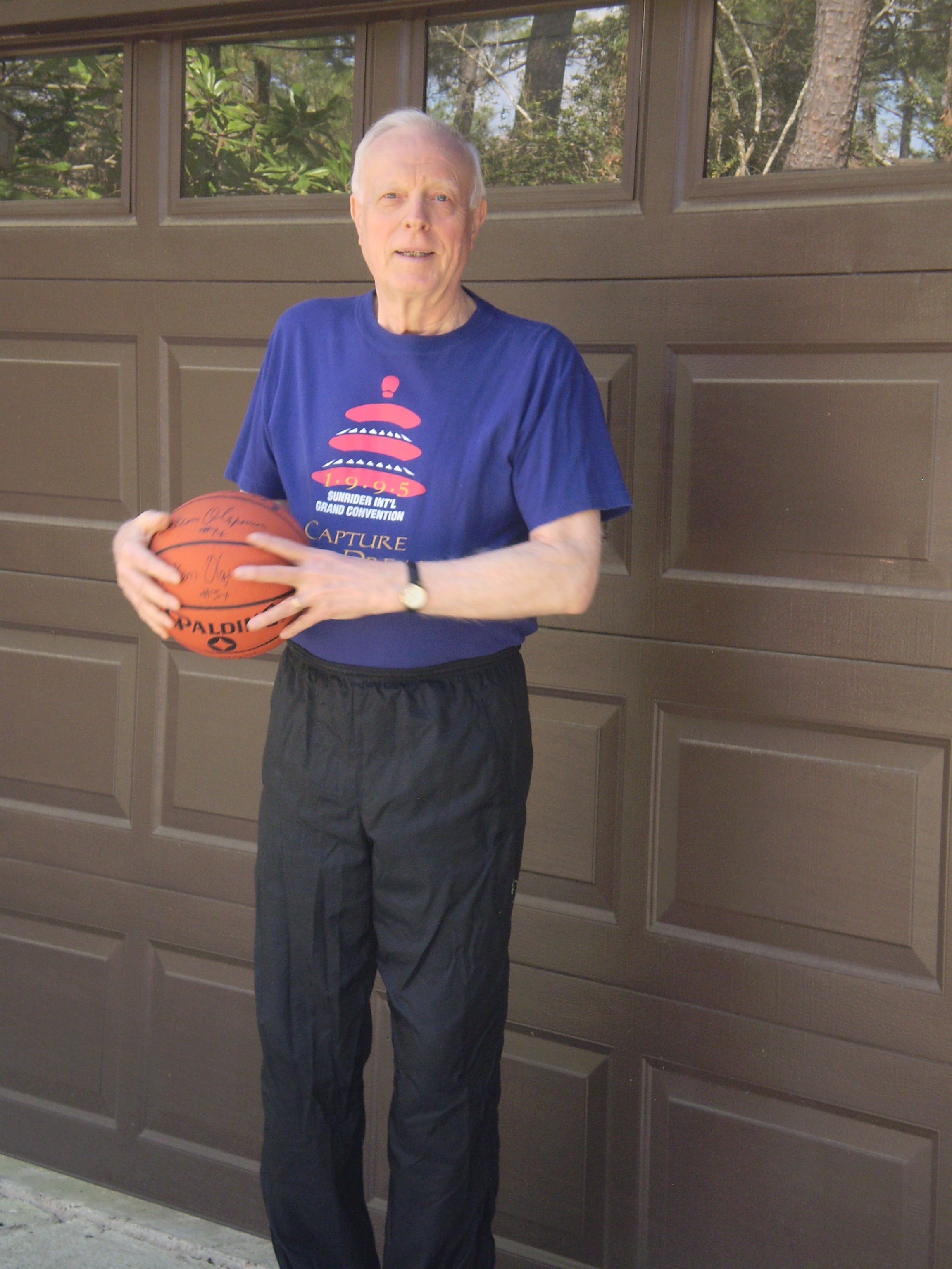 Bill dribbles on the court; not in drawers.